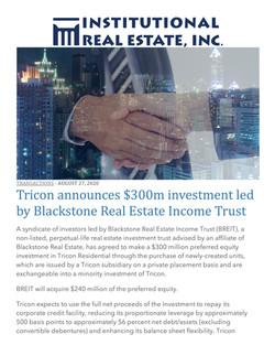 IREI, Tricon announces $300m investment