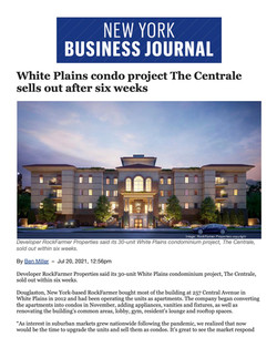 NY Business Journal, White Plains condo project The Centrale sells out after six weeks, 07