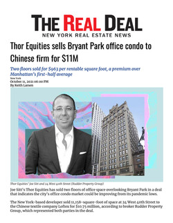 Real Deal, Thor Equities sells Bryant Park office condo to Chinese firm for $11M, 10.11