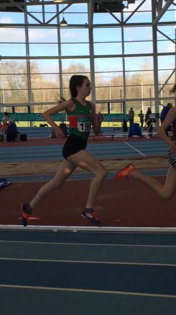 Kate Nurse on her way to winning a Bronze Medal in 1500m at the National Indoor Campionships in Athl