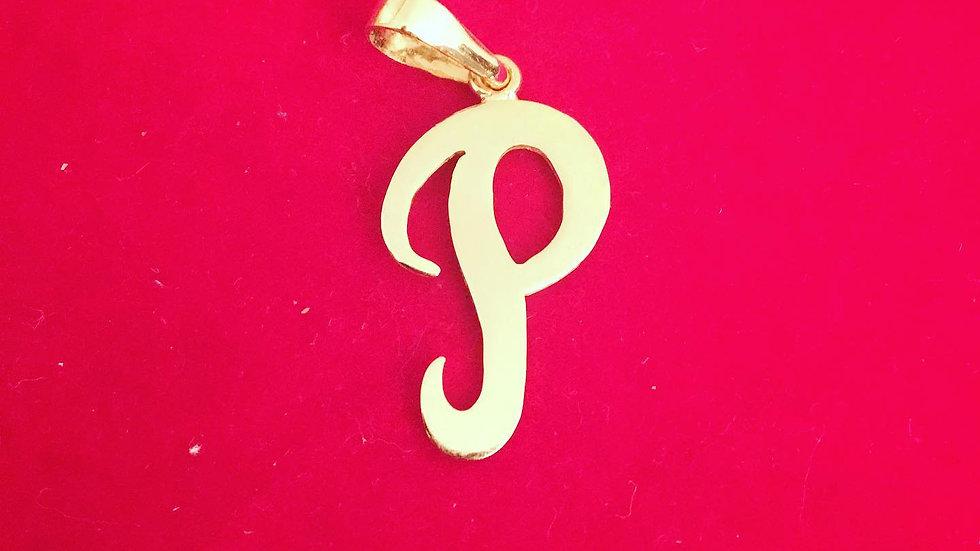 Gold 'P' Initial Pendant
