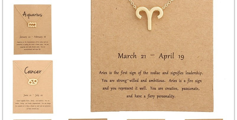 12 Constellation Zodiac Sign Pendant Necklace