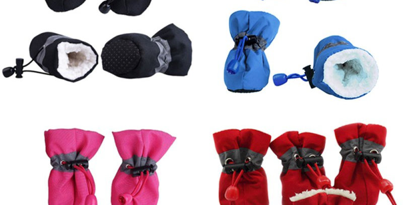4pcs/Set Waterproof Pet Dog Shoes Anti-Slip Rain Snow Boots