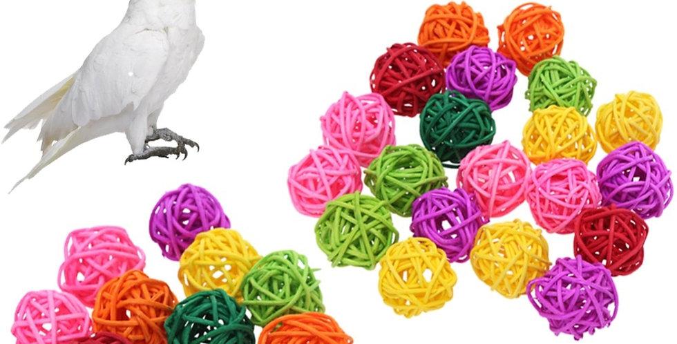 10pcs/20pcs Parrot Rattan Ball Toys Bird Chewing Grind Toys