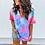Thumbnail: Hollow Out T-Shirt Tie Dye Tops Tee Women Summer Short Sleeve