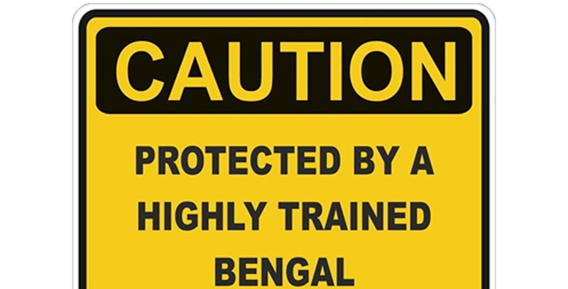 EARLFAMILY 13cm X 10cm Caution Protected by Bengal Warning