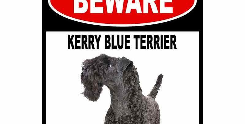 BEWARE KERRY BLUE TERRIER GUARD DOG Car Sticker
