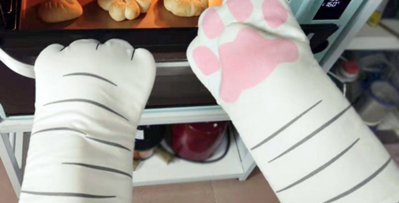 3D Cartoon Cat Paws Oven Mitts