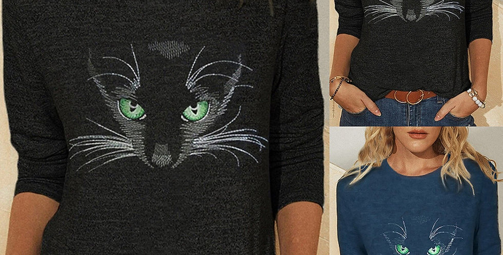 Women Tops Cute 3D Cat Dogs Printed Long Sleeve O-Neck T-Shirts