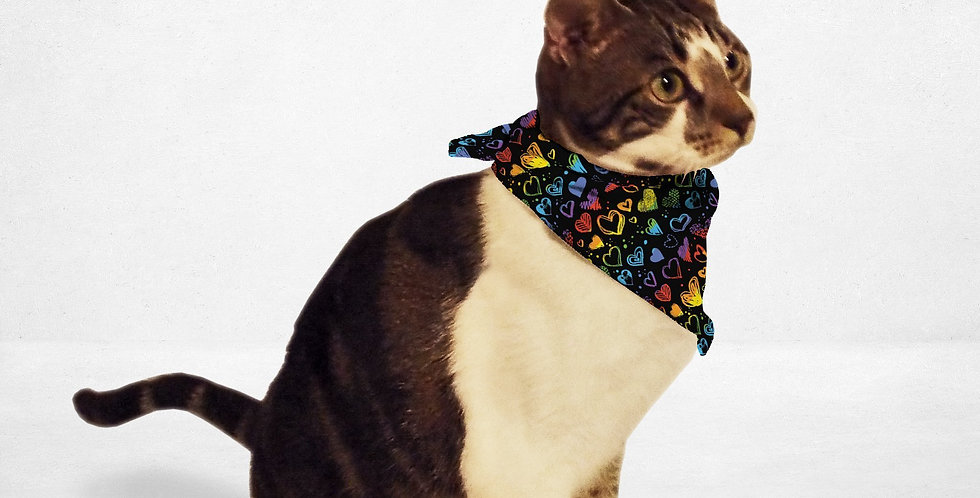 Rainbow Hearts Cat & Dog Bandana