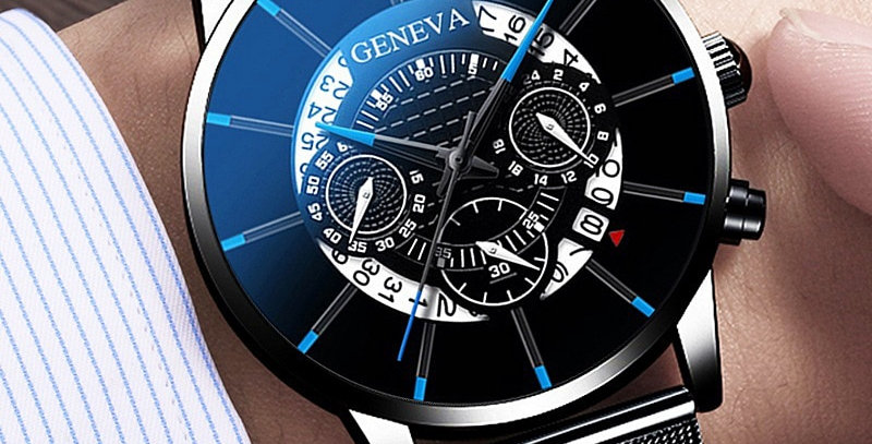 Men's Watch Stainless Steel Calendar Quartz Wristwatch Men Sports