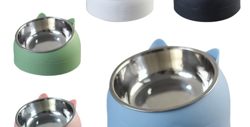 Cat Bowl 15 Degrees Tilted Stainless Steel Cat Bowl Safeguard Neck