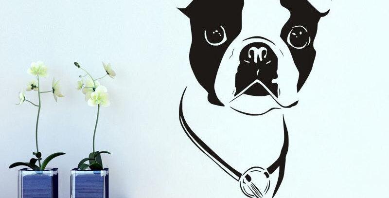Cute Boston Terrier Vinyl Removable Mural Dog Head  Wall Sticker