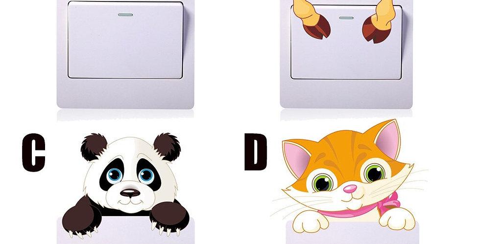 Wall Stickers Animals Cat Light Switch Decor Decals Art Mural