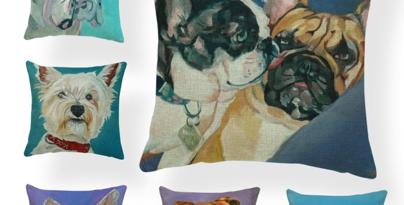 Watercolor Dog Print Cushion Covers Decorate Throw Pillows