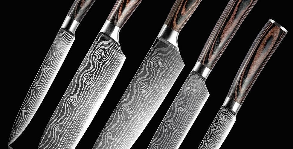 Kitchen Knife Set Stainless Steel Blades Damascus Laser Pattern