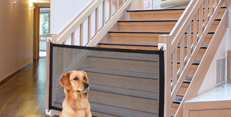 Dog Gate Ingenious Mesh Dog Fence for Indoor and Outdoor Safe Pet Dog Gate