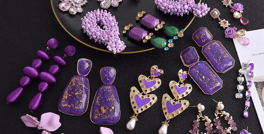 Purple Color Drop Earrings for Women