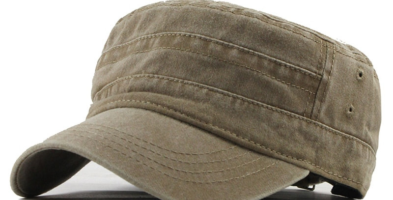 Classic Vintage Flat Top Men's Washed Caps and Hat Adjustable Fitted