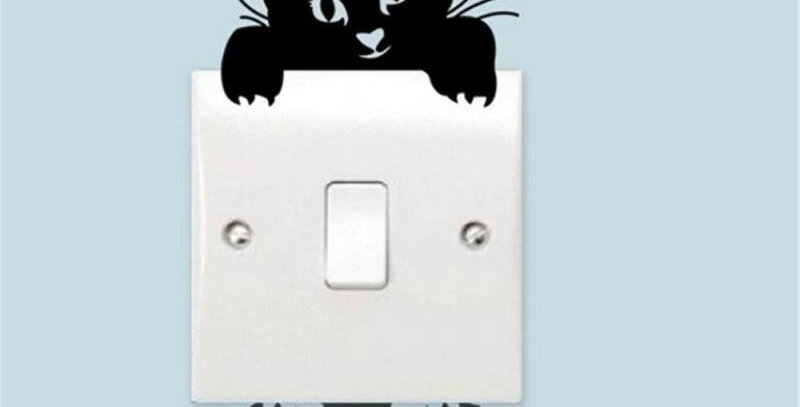 DIY Black Funny Cute Cat and Dog Switch Stickers Wall Stickers