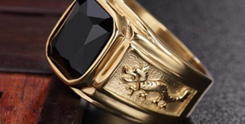 New Golden Dragon Gold Color Man AAA Wedding Ring Big Men 6-15 Retro Jewelry
