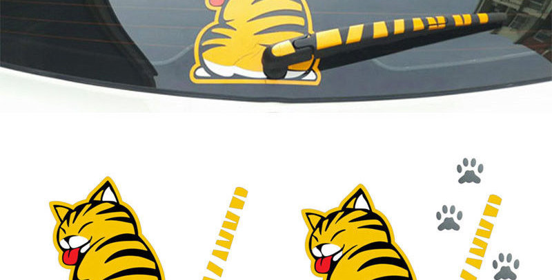 Creative Cat Moving Tail Paws Car Stickers Windshield Rear 3D