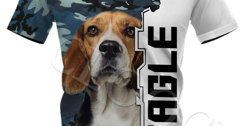 Camo Dog 3D T-Shirt Full Print Animal Design Short Sleeve