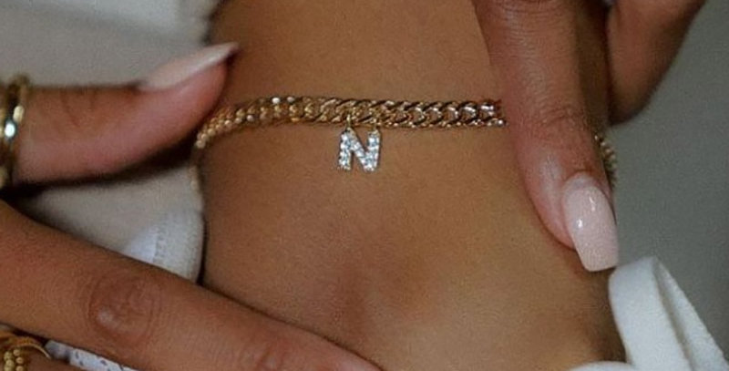 Crystal Zircon Initial Letter Anklets for Women Stainless Steel