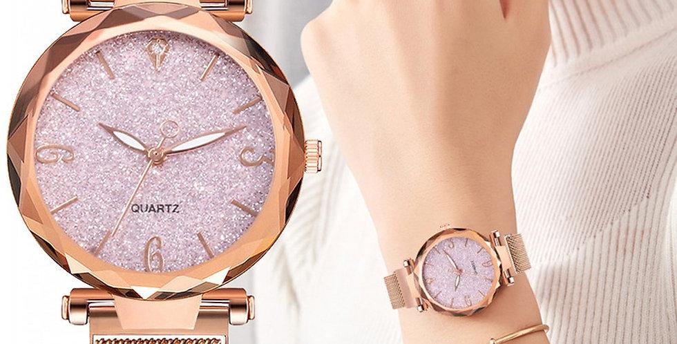 Rose Gold Women Watch 2021 Top Brand Luxury Magnetic Starry Sky Lady Watch
