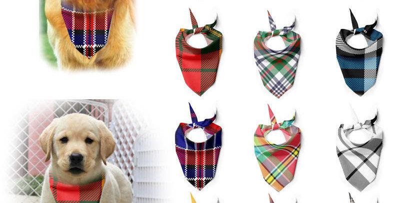 Dog Bandanas Cotton Plaid Washable Bow Ties Collar