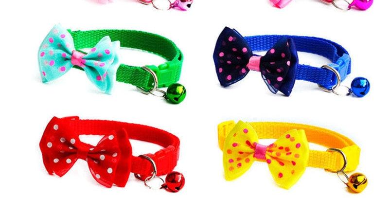 Adjustable Cute Necktie Dog Cat Pet Collar Nylon Bell