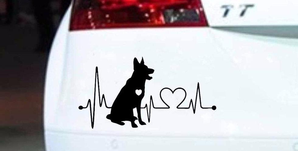 German Shepherd Vinyl Film Stickers Heartbeat