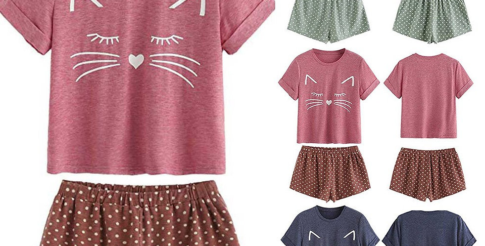 Women's Casual Cat Shorts Short Sleeve Ruffled T-Shirt Sleepwear