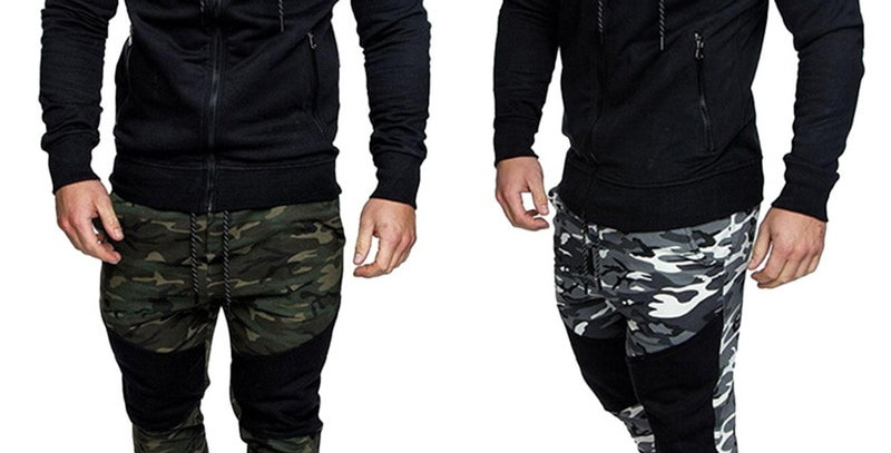Men Causal Camouflage Print Sets M-3XL