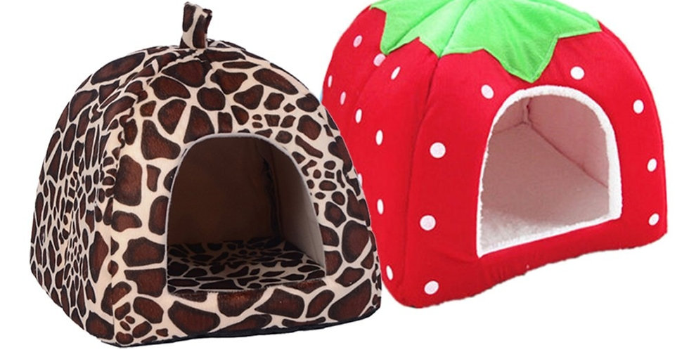 Strawberry Dog Kennel Bed for Dogs Foldable S-XL