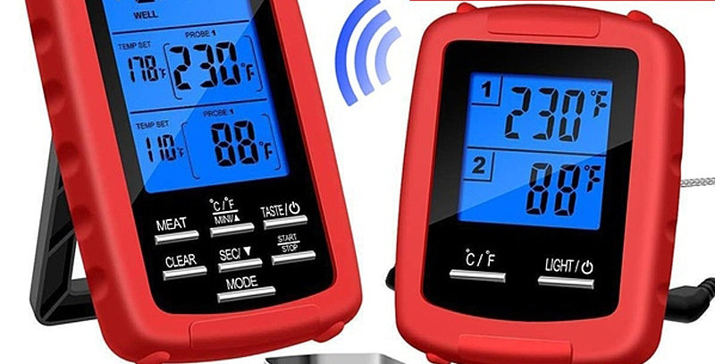 BBQ Thermometer Dual Probe Detection Cooking Meat Detector 330ft Wireless Remote
