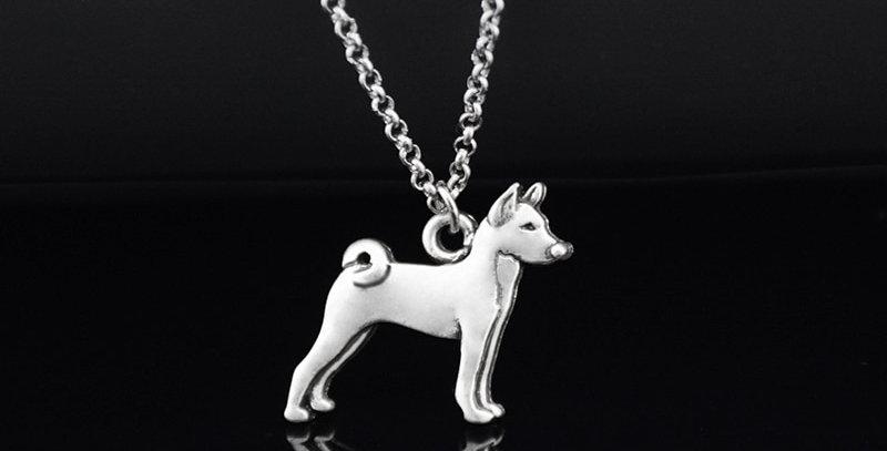 Vintage Silver Color Boho Basenji Dog Charm Pendant Necklace