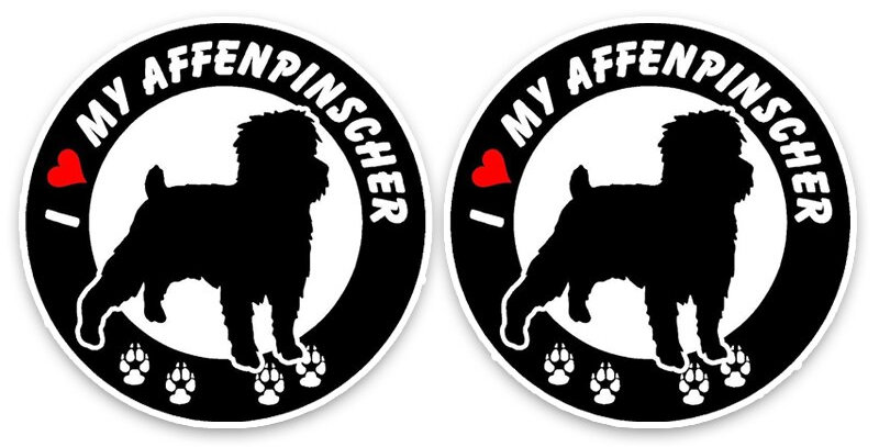Aliauto 2 X I Love My Affenpinscher Dog PVC Car High Quality Sticker