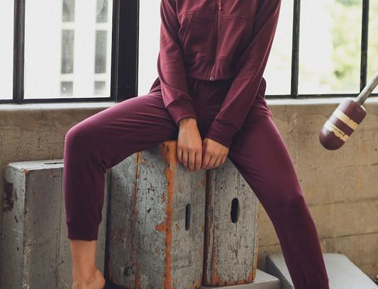 "Burgundy ""I Got a Zip"" Jogger Set"