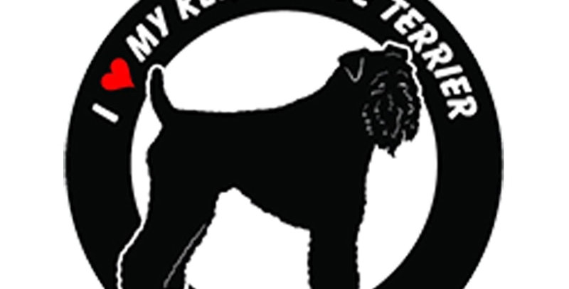 I Love My Kerry Blue Terrier Dog ROUND Vinyl Car Stickers
