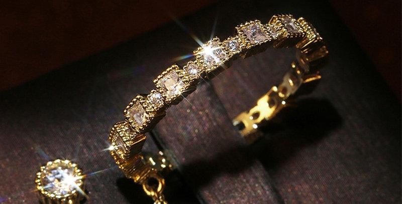 Huitan New Trendy Micro Paved Square Zircon Women Ring