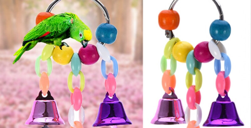 3PC Parrots Toys Bird Accessories Colorful Beads Bells Pet Toy Swing Stand