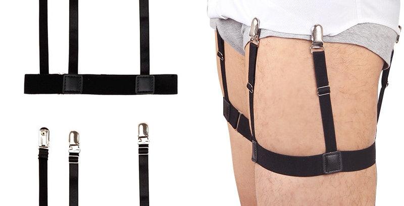 2 Pcs Men Shirt Stays Belt With Non-Slip Locking Clips