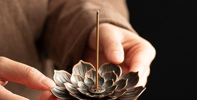 Alloy Incense Burner Stick Holder Buddhism Lotus Line Incense Plate