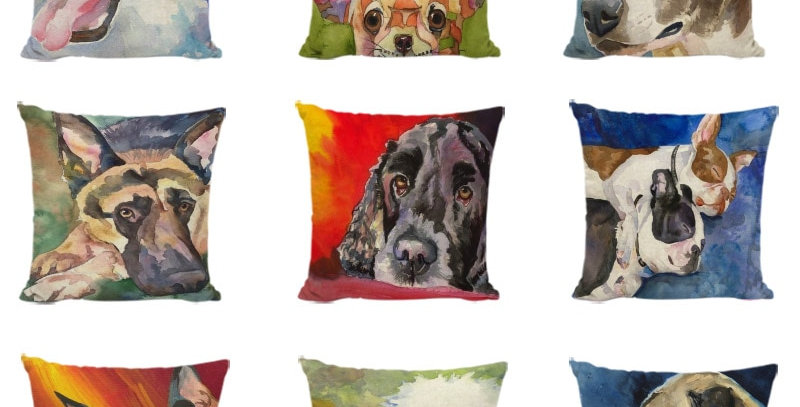 Cuteness Painting Dogs Decorative Cushion Cover Polyester Fabric