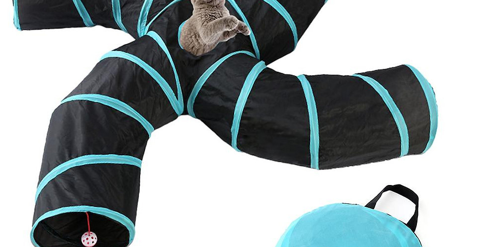 Foldable Pet Cat Tunnel Toy Collapsible 2/3/4/5 Holes