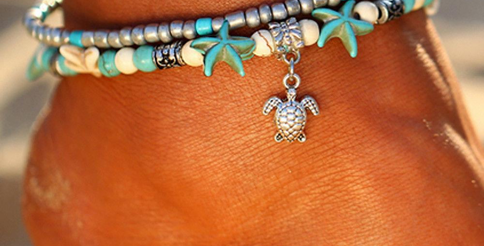 Vintage Double Beaded Turtle Starfish Boho Anklet