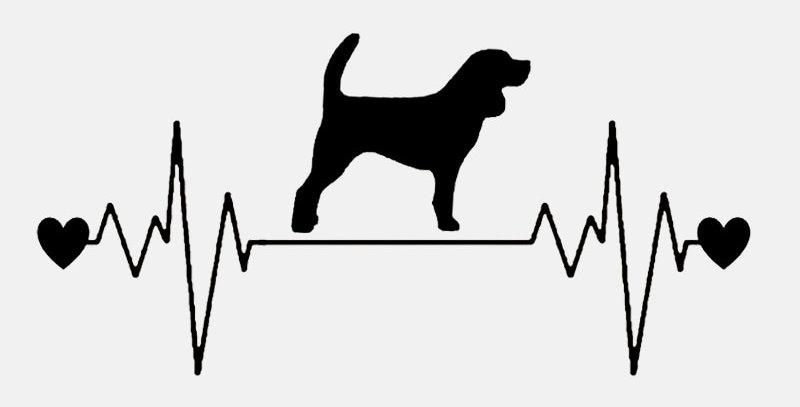 Cute Beagle Dog Heartbeat Lifeline Vinyl Black/Silver Car Sticker