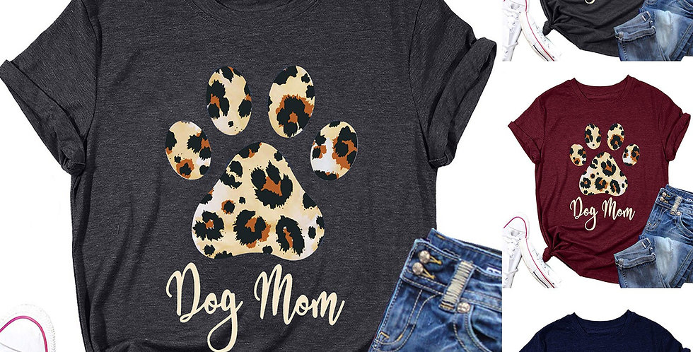 Women Casual Letters Leopard Print Dog Lovers Shirt