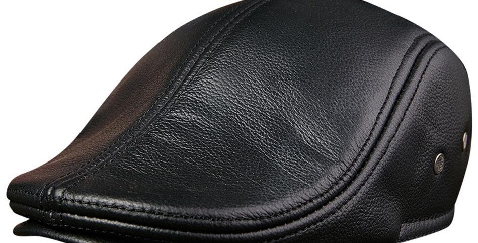 BUTTERMERE Flat Caps Men Real Leather Duckbill Hats Berets